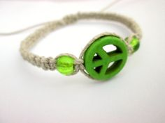 Green Peace Hemp Bracelet Glass Beaded Hippie by JackZenHemp, $8.50 #peace #hempbracelet #hemp #hippie #natural #organic #etsy #etsyshop #hempjewelry