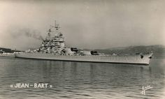 The fantastic Battleship Jean Bart. She was the last Battleship completed in the world, and one of the finest, in my opinion. Armed with 8 15in guns, they were carried forward in quadruple turrets. She also had an expansive AA outfit, which was mostly obsolescent with the advent of the jet age.