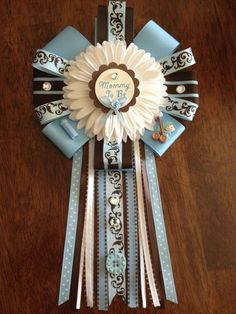 NEW Damask Baby Boy Mommy To Be Corsage. $19.00, via Etsy.