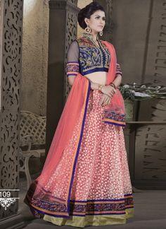 Pink Brasso Designer Embroidery Work Wedding Lehenga Choli