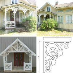 Snickarglädje Cottage Porch, Cozy Cottage, Porch Trim, Norway Design, Pergola, Scandinavian Style Home, Porch Addition, Exterior Trim, Decks And Porches