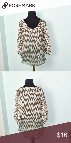 Urban Outfitters Chocolate Zigzag Ombre Blouse In excellent condition! Extremely comfortable, soft, and flattering! Buy 3 items and get 1 free plus 15% off your purchase total! Urban Outfitters Tops Blouses