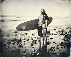 Des surfeurs au collodion humide surf land colloidon humide photo ancienne 01 photo art