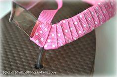 How to Decorate Your Own Flip Flops - Adornabelle Ribbon Flip Flops, Bling Flip Flops, Beach Flip Flops, Flip Flop Shoes, Flip Flops Diy, Flip Flop Craft, Decorating Flip Flops, Samaritan's Purse, Christmas Shoes