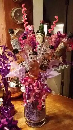 Adult Liquor Bouquet Mini Alcohol Bouquet, Liquor Bouquet, Candy Bouquet Diy, Valentine Bouquet, Gift Bouquet, Valentines Diy, 21st Birthday Bouquet, 21st Birthday Centerpieces, 21st Birthday Basket
