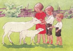 - Illustration by Rudolf Koivun March Baby, Baby Lamb, Believe In God, The Kingdom Of God, Children's Book Illustration, Little People, Vintage Art, Childrens Books, Poppies