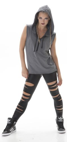 An oversized look created from a men's top, paired with tear leggings.  Perfect for team hip hop dance!