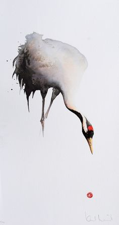 I think this is a Manchurian Crane - Lithograph from Watercolor by Karl Mårtens - Litografier « Edition Vulfovitch Art Aquarelle, Watercolor Animals, Space Watercolor, Watercolour Birds, Watercolor Techniques, Ink Painting, Gouache, Crane Drawing, Art Drawings