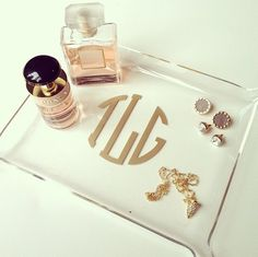 cute monogram trinket tray