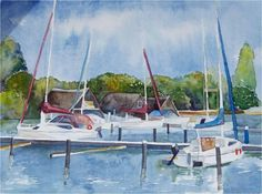 Boats on Lake © #watercolor by Frank Koebsch, 30 x 40 cm, $285, A watercolor in anticipation of the watercolor course on Saturday on Lake Schwerin. Those who desire may like to come over ;-) More Informationen - look here http://frankkoebsch.wordpress.com/2012/06/19/boote-am-see-aquarell-von-frank-koebsch/