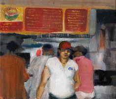 Behind the counter, 20x20 cm, óleo sobre lienzo.
