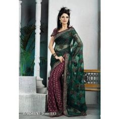 Magenta and bottle green color viscose georgette and net half and half saree is with embroidered and woven motifs work