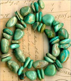 """Mexican Campo Frio TURQUOISE Beads Strand~Natural~Genuine~8-15mm 11"""""""