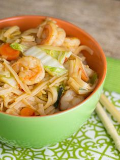 This flavorful rice noodle recipe with shrimp and cabbage is a very easy, healthy dinner. We loved it!