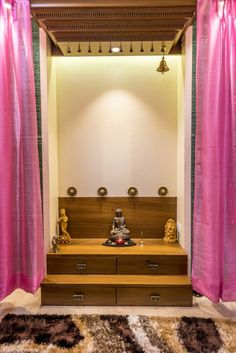 Pooja Mandir Design Ideas, Pooja Mandir Designs for Home, Cabinet Designs Temple Room, Home Temple, Residential Interior Design, Room Interior Design, Interior Designing, Design Bedroom, Interior Ideas, Furniture Design, Altar