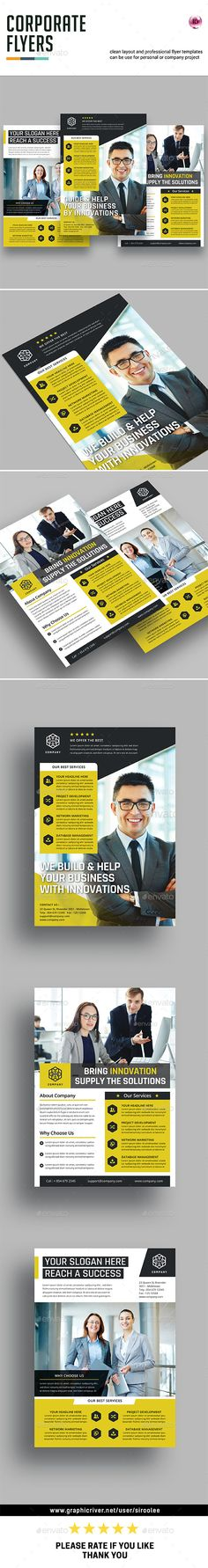 Corporate Flyer Design Template - Corporate Flyer Template InDesign INDD. Download here: https://graphicriver.net/item/corporate-flyers/17510022?ref=yinkira