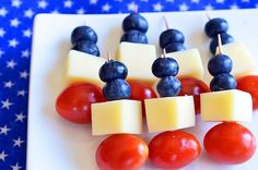 Red, White and Blue Skewers I think I would substitute strawberry for tomato.