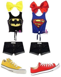 Batman and superman summer outfits. If only I had an emo friend to wear the other one with :(
