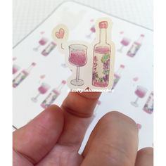 Red Wine Stickers/ Hand-drawn Stickers/ Planner Stickers by softpinksmooches on Etsy