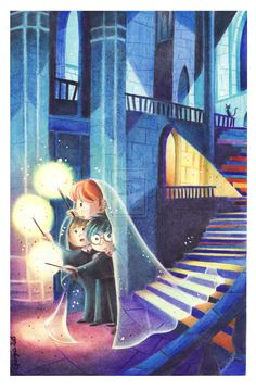 Lumos by SayuriEyes on deviantART. Harry Potter, Ron Weasley, and Hermione Granger.