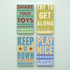 Kids Room Art for Playroom Decor Set By Order of the Management Word Art Blocks - Set of 4 - 4 in x 7 in Playroom Art - Kids Art Prints on Etsy, $54.00