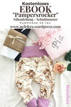 DIY Schnittmuster - Nelefees kostenlose Nähanleitung für eine Pumphose - Mitwachshose Ebook in den Grösen 56-104 auch für Nähanfänger zum Nähen lernen geeignet - Tutorial für eine Babyhose auch bestens geeignet als Geburtsgeschenk