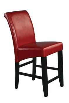 Metro Crimson Red Bonded Leather Wood 24 Inch Parsons Barstool