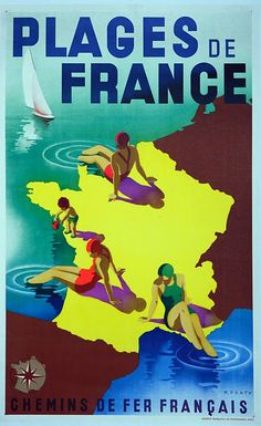 Plages de France. Beaches of France vintage beach travel poster