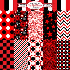The Red Queen Papers - striking digital papers are great for card making, invitations, and creative projects.