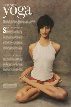 4 Yoga Poses to Alleviate Stress, Headaches, Insomnia and Overindulgence. Photo Christy Turlington in Lotus Pose. Come to Clarkston Hot Yoga in Clarkston, MI for all of your Yoga and fitness needs! Feel free to call or visit our website w Yoga Dance, My Yoga, Ashtanga Yoga, Yoga Meditation, Qigong, Yoga Inspiration, Yoga Lotus, Yoga Fitness, Workout Fitness
