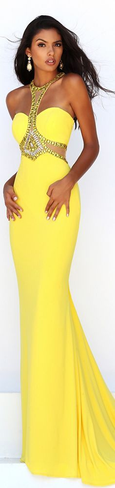Sherri Hill yellow prom dress (50339).