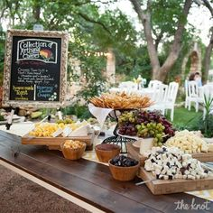 Cheese display for vineyard wedding cocktail hour