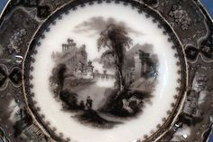 Flow Mulberry Ironstone Plate, Alcock in Vincennes Pattern 1857 Flow, Decorative Plates, Pattern, Patterns, Model, Swatch