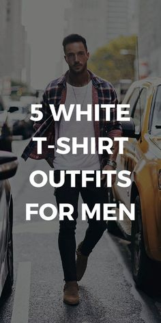 Mens Style Discover 5 White T-Shirt Outfits For Men 5 Amazing White T-shirt Outfits For Men. Beauty And Fashion, Mens Fashion Blog, Men's Fashion, Fashion Ideas, Fashion 2020, Street Fashion, Fashion Tips, Mens Style Guide, Men Style Tips