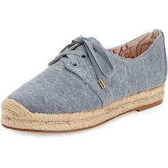 Joie Wallie Denim Espadrille Sneaker ($82) ❤ liked on Polyvore featuring shoes, sneakers, denim, woven flats, lace up espadrilles, lace up espadrille flats, woven sneakers and laced flats