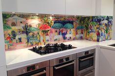 sklenená zástena v kuchyni - UV potlač