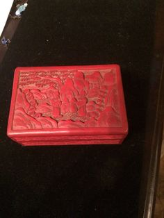 Vintage antique Chinese cinnabar carved jewelry trinket box red free shipping at
