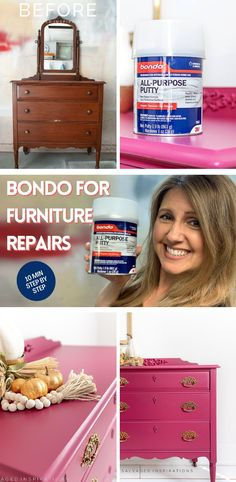 Furniture Repairs with BONDO | Vintage Furntiure Makeover | Salvaged Inspirations #siblog #salvagedinspirations #paintedfurniture #furniturepainting #DIYfurniture #furniturepaintingtutorials #howto #furnitureartist #furnitureflip #salvagedfurniture #furnituremakeover #beforeandafterfurnuture #paintedvintagefurniture #roadsiderescues Salvaged Furniture, Furniture Repair, My Furniture, Furniture Makeover, Vintage Furniture, Painted Furniture, Scratched Wood, Nook And Cranny, Vintage Dressers