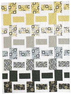 "Crazy For Daisies Quilt Kit Easy Modern Quilts Yellow Gray 60""x 80"" - product images  of"