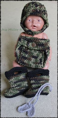 Crochet army helmet, boots, diaper cover and dog tag set.