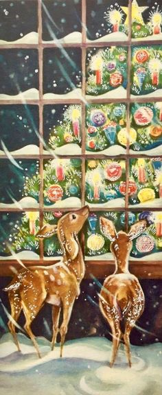 #retrochristmas Vintage Christmas Card. Christmas Tree. Christmas Window.