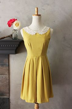 ETIQUETTE in Mustard  Vintage Inspired Dress in by FleetCollection,