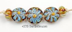 Spiral Blossoms Bead Set  Handmade by BastilleBleuLampwork on Etsy, $26.00