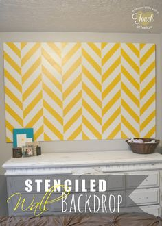 A mommy's life...with a touch of YELLOW: Stenciled Wall Backdrop {Cutting Edge Stencil Giveaway}