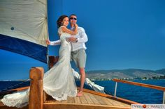 On board the Maria yacht in the Aegean Sea out of Kos town wedding reception at sea