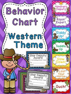 Cowboy behavior chart for western theme classroom a bunch of other fun behavior clip charts!