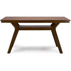 Baxton Studio Montreal Mid-century Dark Walnut Wood Dining Set Table (€315) ❤ liked on Polyvore featuring home, furniture, tables, dining tables, brown, brown dining set, mid century modern dining table, midcentury modern dining table, brown dining table and top table