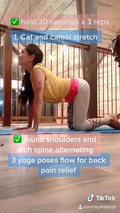 Yoga Poses For Back, Yoga For Back Pain, Morning Yoga Flow, Back Pain Exercises, Pilates For Beginners, Gym Workout Videos, Flexibility Workout, Back Pain Relief, Yoga Quotes