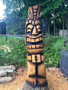 I was finally able to get over to Jon's house today and finish up the location carve that I've been working on. Tropical Backyard, Tropical Art, Tiki Pole, Tiki Head, Tiki Statues, Tree Faces, Tiki Decor, Tiki Lounge, Tiki Art