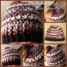 Crochet Messy Bun, Ponytail Hat...Ashes  -- The Perfect Stitch...: Ashes Messy Bun/Ponytail Hat...